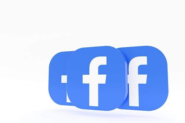 3d-рендеринг логотипа приложения facebook на белом фоне