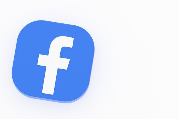 Facebookアプリケーションのロゴ白い背景の3dレンダリング