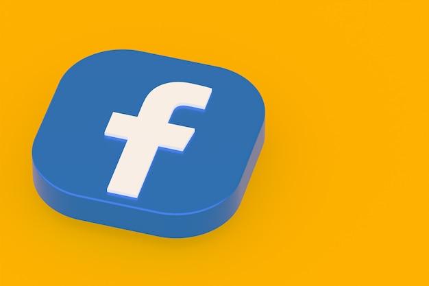 3d-рендеринг логотипа приложения facebook на желтом фоне
