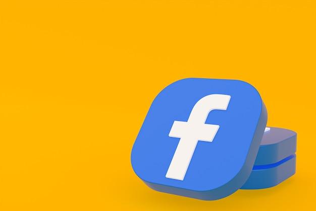 노란색 배경에 facebook 응용 프로그램 로고 3d 렌더링