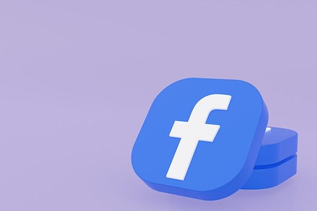 Facebook application logo 3d rendering on purple background