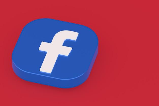 Facebook application logo 3d rendering on red background