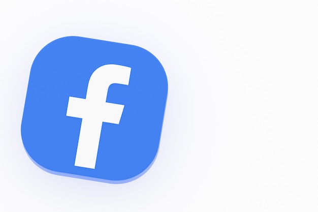 Facebook application logo 3d rendering on white background