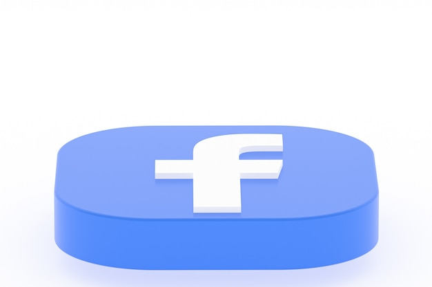 Facebook application logo 3d rendering on white surface