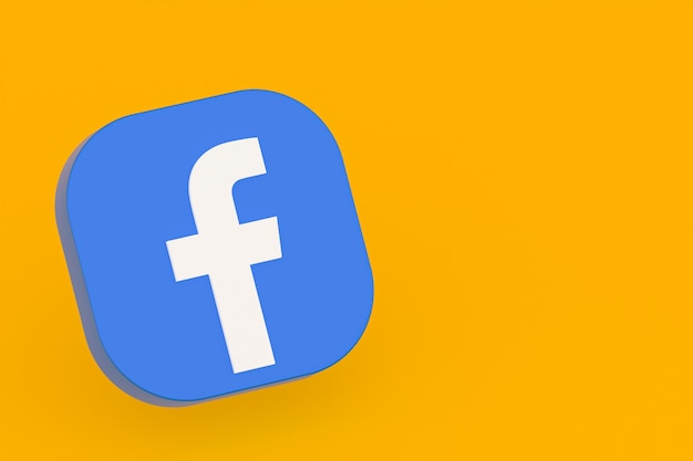 Facebook application logo 3d rendering on yellow background