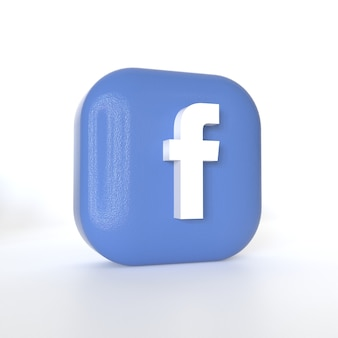 Facebook application logo with 3d rendering