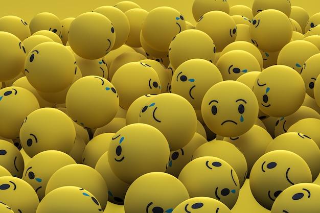 Грустно facebook социальных медиа emoji 3d визуализации фона, символ социальных медиа шар