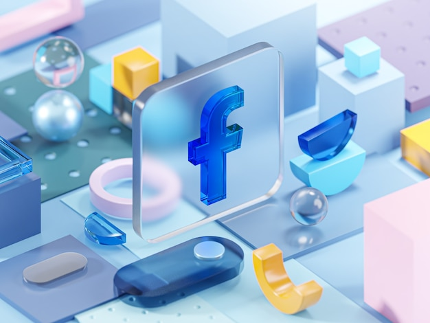 Facebook glass geometry shapes abstract composition art 3d rendering
