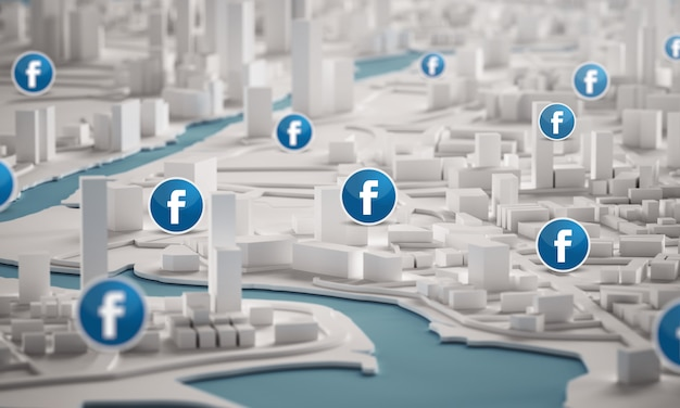 Facebook icon over aerial view of city buildings 3d rendering
