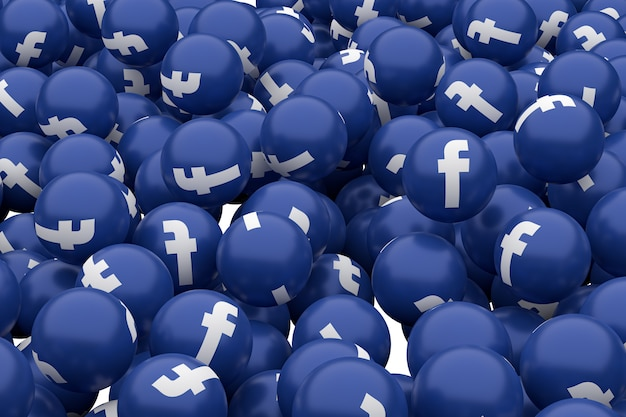Facebook icon emoji 3d render, social media balloon symbol with icons pattern
