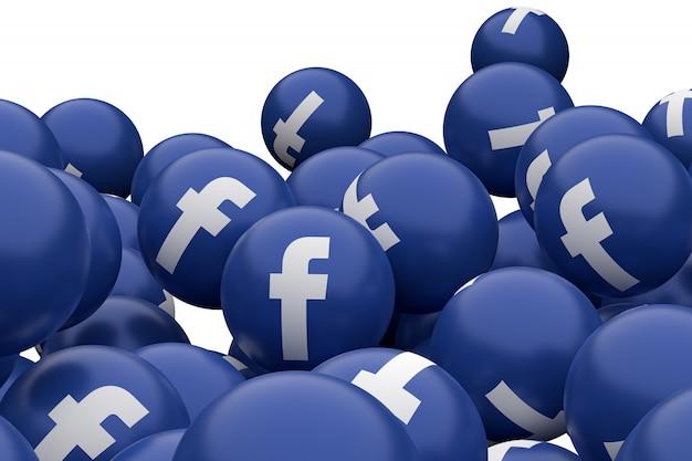 Facebookアイコン絵文字3 dレンダリング、アイコンパターンを持つソーシャルメディアバルーンシンボル