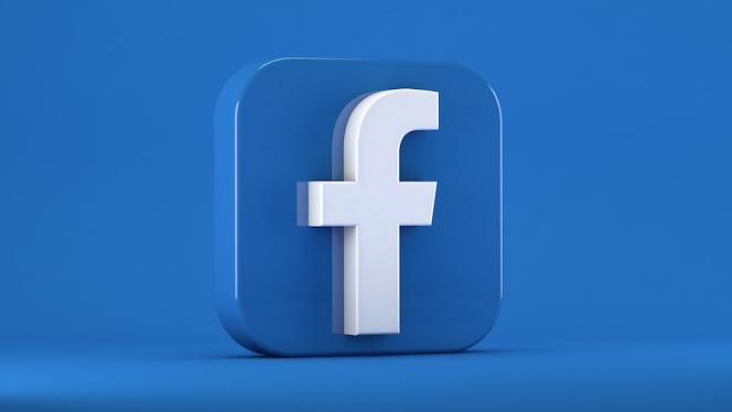 Facebook icon isolated on blue in a square with blunt edges