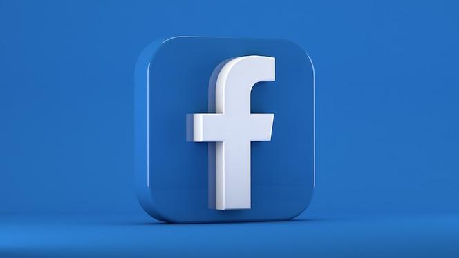 무딘 가장자리가있는 사각형의 파란색에 고립 된 facebook 아이콘