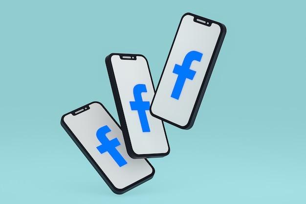 画面上の携帯電話のfacebookアイコン3dレンダリング
