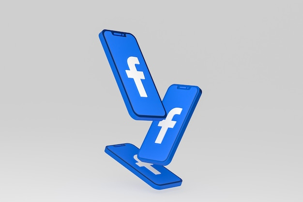 Значок facebook на экране мобильных телефонов 3d визуализации