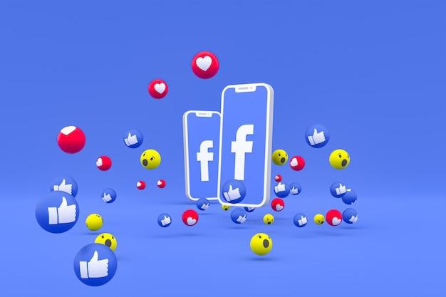 Значок facebook на экране смартфона и реакции facebook любовь, вау, как смайликов 3d визуализации