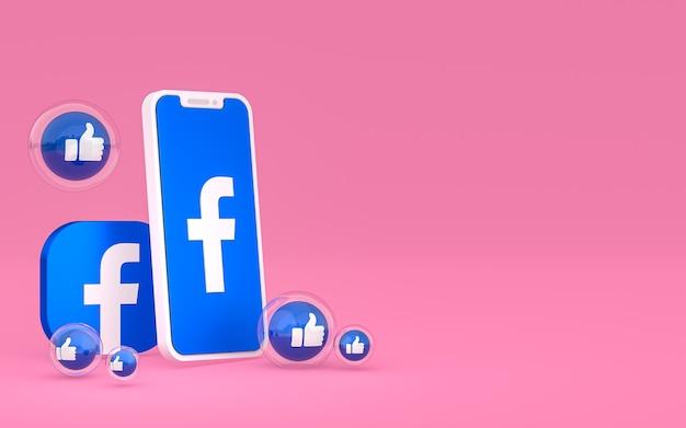 Значок facebook на экране смартфона и реакция facebook любовь, ничего себе, как смайлики с копией пространства