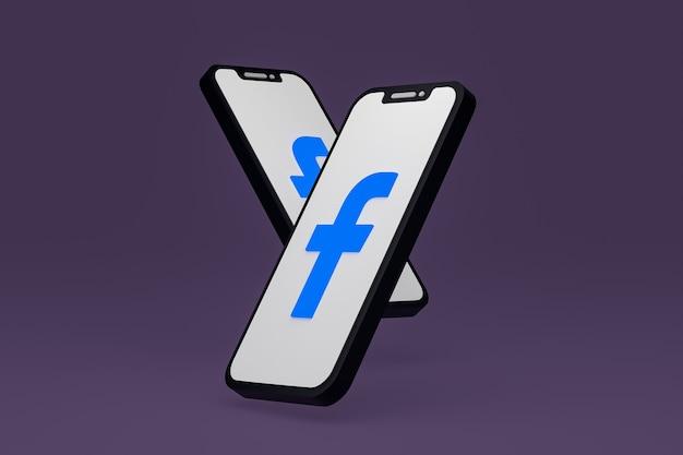 画面のスマートフォンまたは携帯電話の 3 d レンダリング上の facebook アイコン
