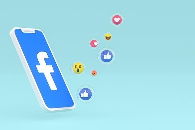 Значок facebook на экране смартфона или мобильного телефона 3d визуализации