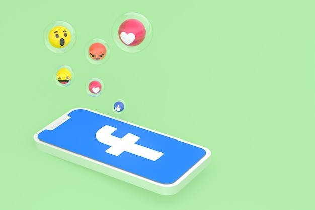 Facebook icon on screen mobile phones 3d render