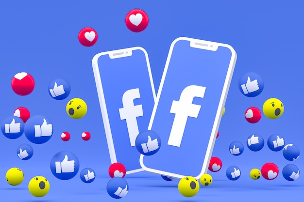 Facebook icon on screen smartphone and facebook reactions love, wow, like emoji 3d render