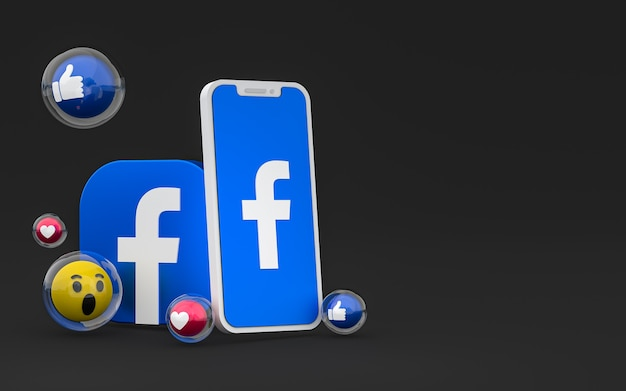 Facebook icon on screen smartphone and facebook reactions love, wow, like emoji with copy space