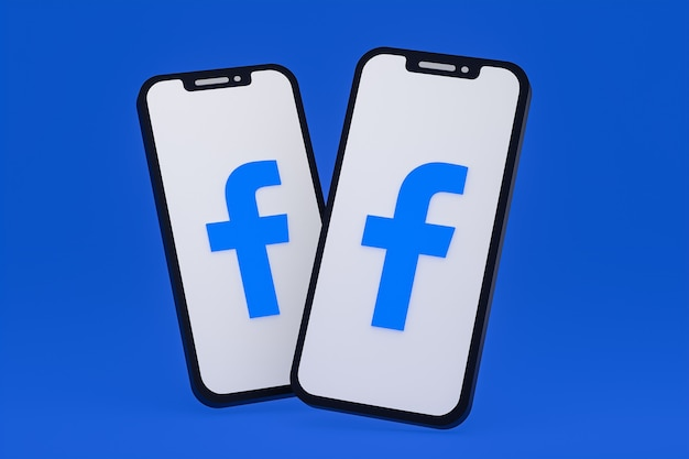 Facebook icon on screen smartphone or mobile phone 3d render