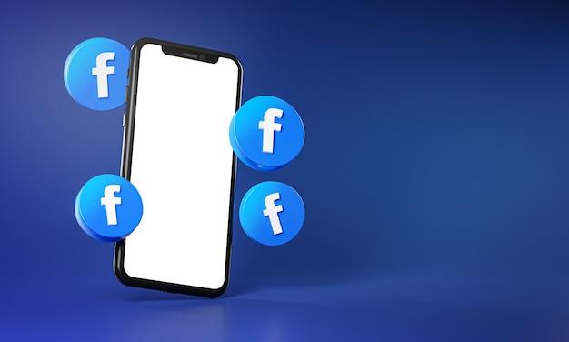 Иконки facebook вокруг приложения для смартфона 3d-рендеринг