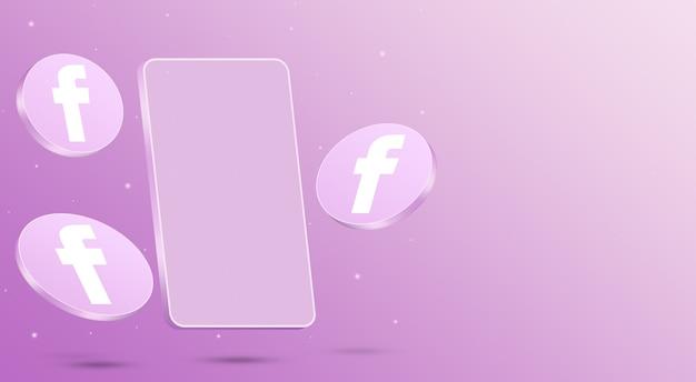 휴대 전화 3d 렌더링 페이스 북 아이콘