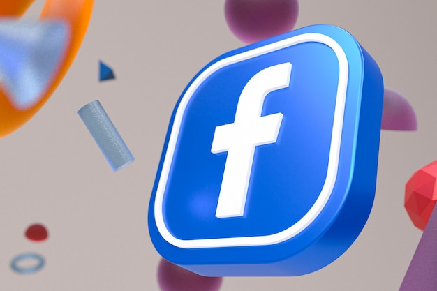 Facebook ig logo on abstract geometry background