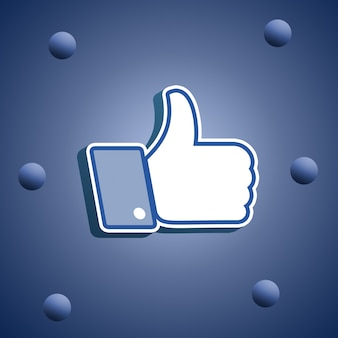 Facebook like icon, thumbs up 3d