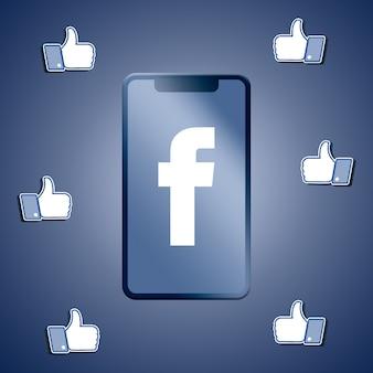 Facebook любит вокруг экрана телефона 3d-рендеринга