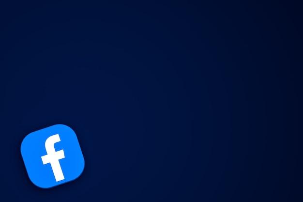 Facebookのロゴの3dアイコンレンダリングの背景