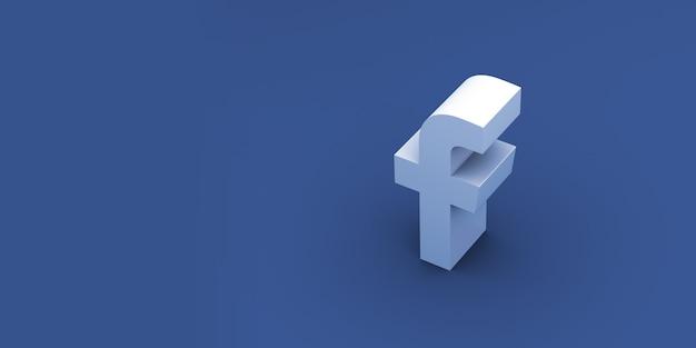Facebook логотип 3d рендеринга фон