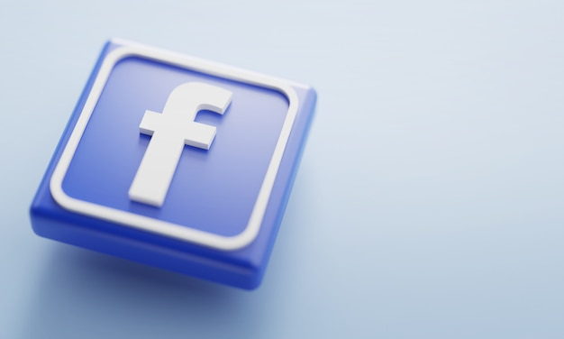 Facebook logo 3d rendering close up. account page promotion template.