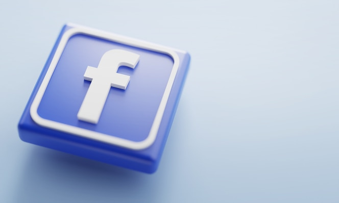 Facebook 로고 3d 렌더링을 닫습니다. 계정 페이지 프로모션 템플릿.