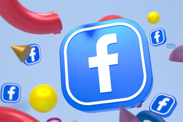 Facebook logo on abstract geometry background