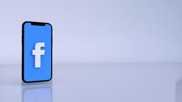 Facebook logo button icon 3d with copy space. 3d rendering