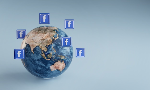 Facebook logo icon around earth. popular app concept.