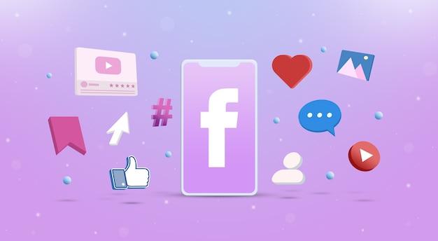 Значок логотипа facebook на телефоне с значками социальных сетей вокруг 3d