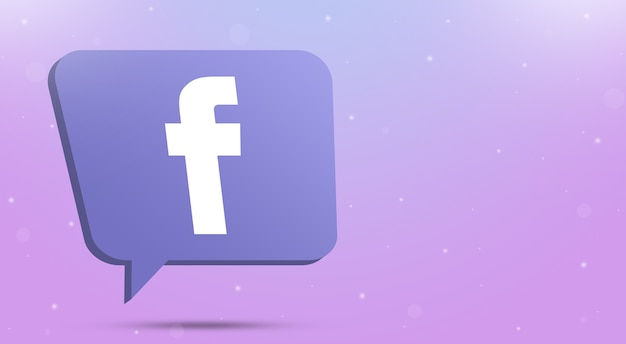 Facebook logo icon on speech bubble 3d