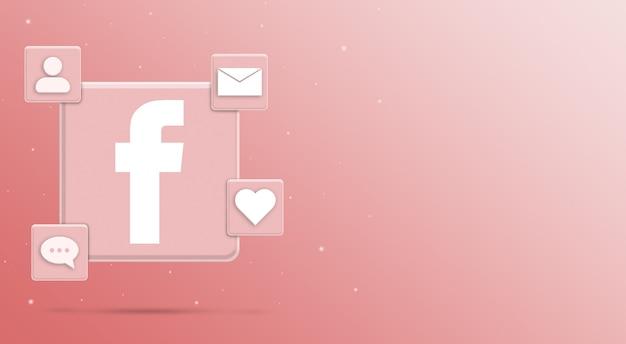 Значок логотипа facebook с активностью 3 в социальных сетях