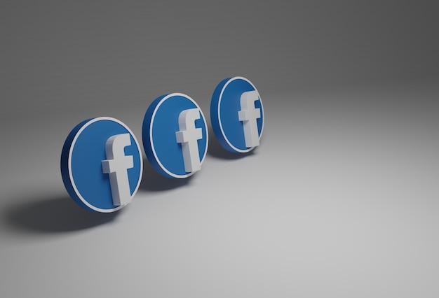 Логотип facebook в белом и синем цвете на заднем плане, все в 3d.