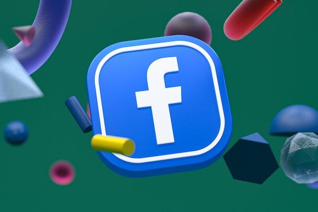 Логотип facebook на фоне абстрактной геометрии