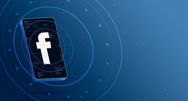 기술 디스플레이가있는 휴대 전화의 facebook 로고, 스마트 3d 렌더링