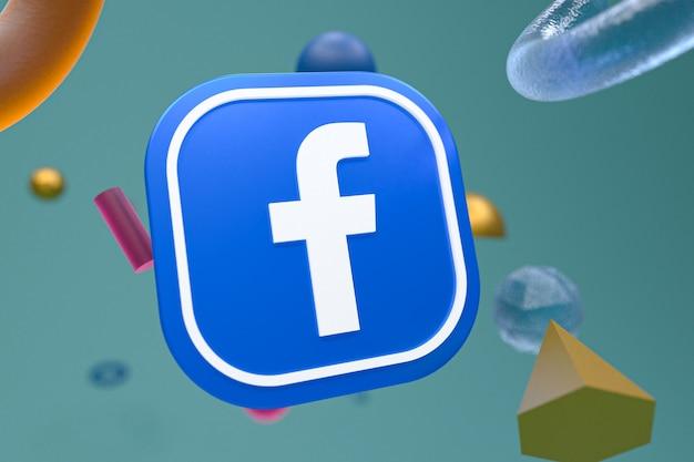 Логотип facebook с абстрактными геометрическими фигурами, 3d-рендеринг
