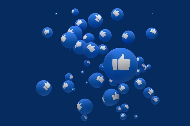 Facebook reactions emoji 3d render premium photo,social media balloon symbol with like thumbs up icons pattern