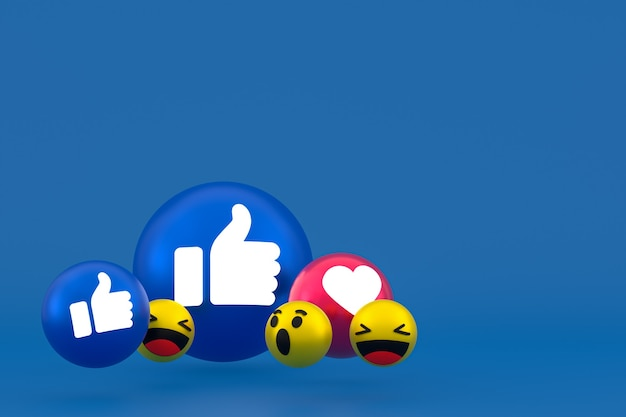 Facebook реакции смайликов 3d визуализации, символ воздушного шара в социальных сетях на синем