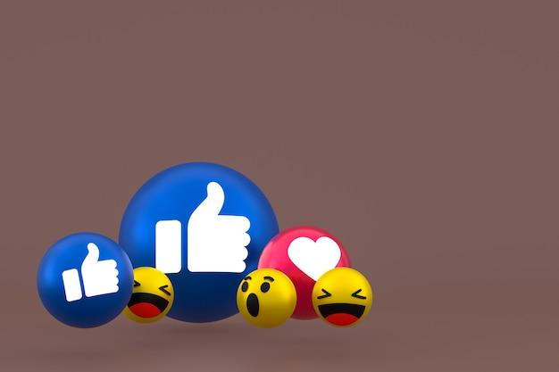 Facebook реакции смайликов 3d визуализации, символ воздушного шара в социальных сетях на коричневом фоне