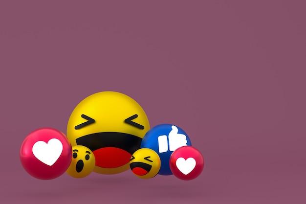 Facebook реакции смайликов 3d визуализации, символ воздушного шара в социальных сетях на коричневом